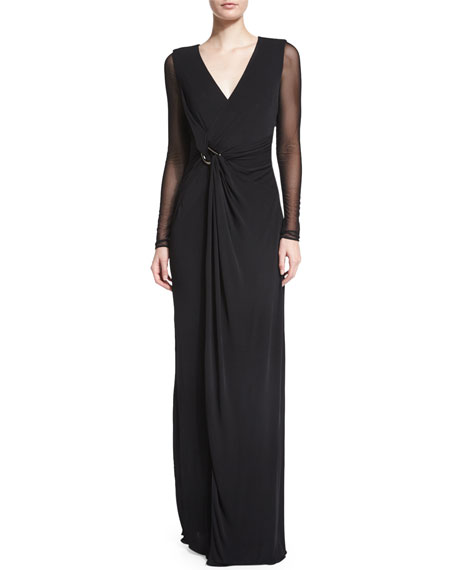 Sheer-Sleeve V-Neck Evening Gown, Black