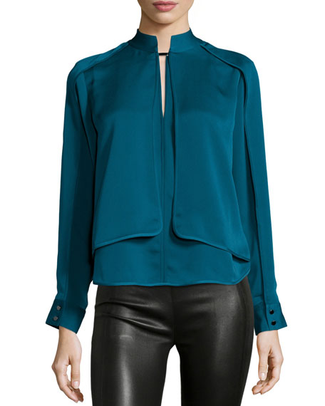 Halston Heritage Long-Sleeve Layered Top, Atlantic