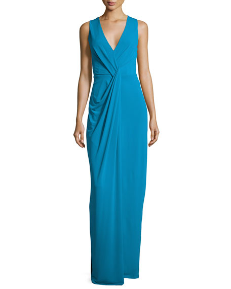 Halston Heritage Sleeveless Drape-Front Evening Gown, Turquoise