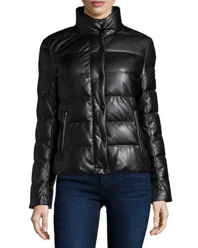Faux-Leather Quilted Puffer Jacket