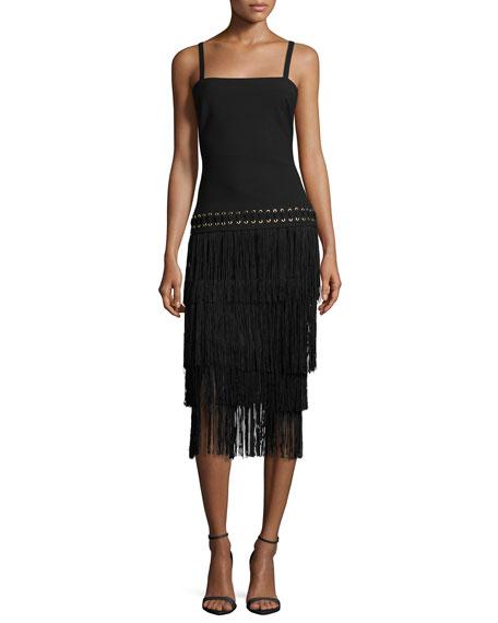 Elizabeth and James Zuly Layered-Fringe Dress, Black