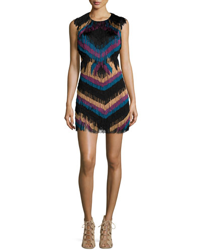 Ondria Fringe Sheath Dress, Multi Colors