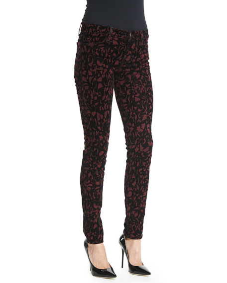 J Brand Jeans 620 Mid-Rise Super-Skinny Jeans, Mulberry Brocade