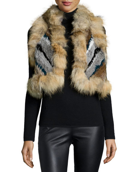Elizabeth and James Robbie Cropped Fur Vest, Prussian Blue