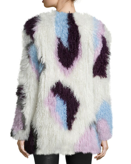 Bee Long-Sleeve Fur Jacket, Ivory