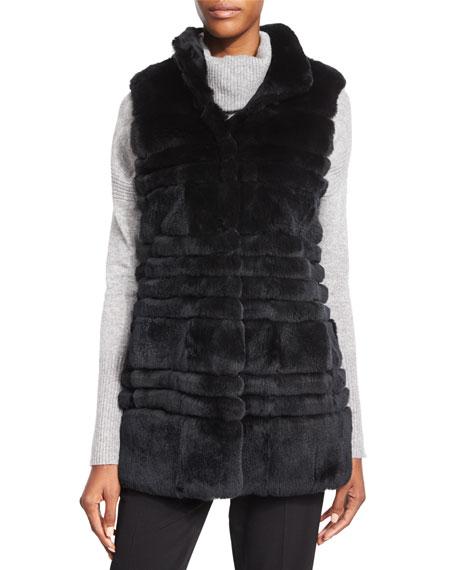 Diane von Furstenberg Colby Fur Long Vest, Black
