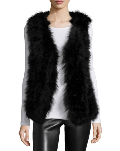 Marisa Open-Front Feather Vest, Black