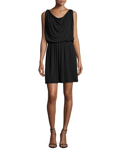Sleeveless Blouson Cocktail Dress, Black