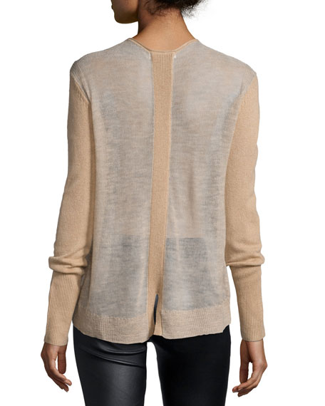 Long-Sleeve V-Neck Cashmere Sweater, Camel