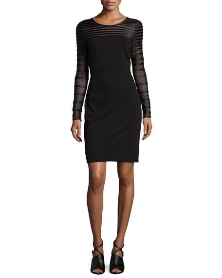Halston Heritage Long-Sleeve Striped Cocktail Dress, Black