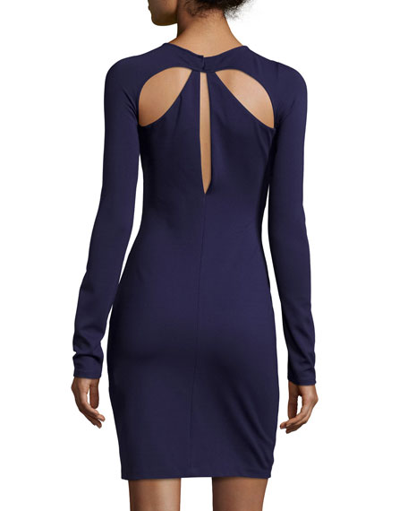 Long-Sleeve Cocktail Dress W/Cutouts, Midnight