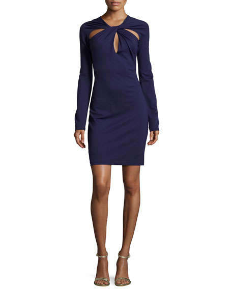Halston Heritage Long-Sleeve Cocktail Dress W/Cutouts, Midnight
