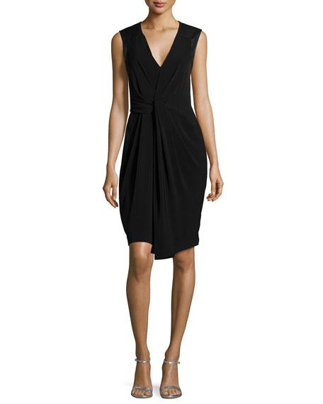 Halston Heritage Sleeveless Pleated-Front Dress, Black