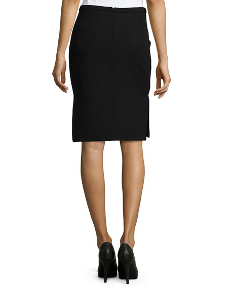 Mid-Rise Pencil Skirt, Black