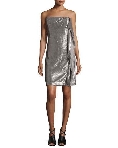 Strapless Sequin Dress W/Side Ruffle, Taupe/Silver