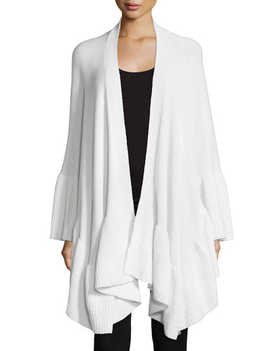 Cashmere Cape w/Ruffle Trim, White