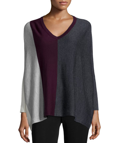 Silk/Cashmere Colorblock V Neck Sweater