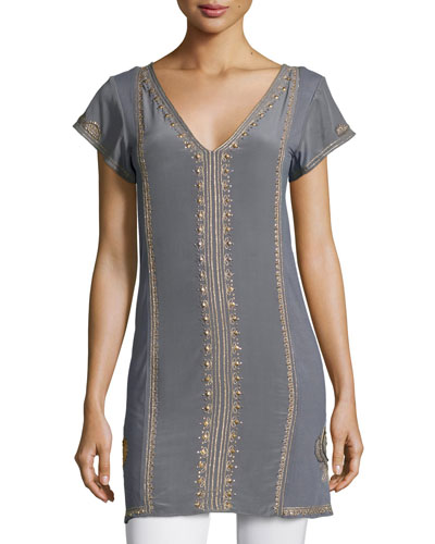 Revnia Short-Sleeve Embellished Dress, Gris