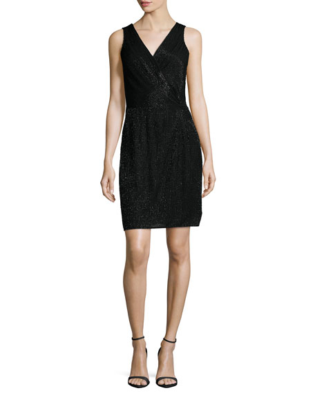 Diane von Furstenberg Lyndsey Embellished Faux-Wrap Dress, Black