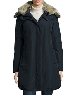 Bow Bridge Placket-Front Parka W/ Fur-Lined Hood
