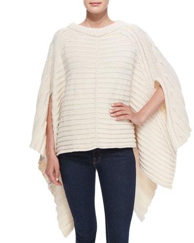 Ribbed Wool Poncho