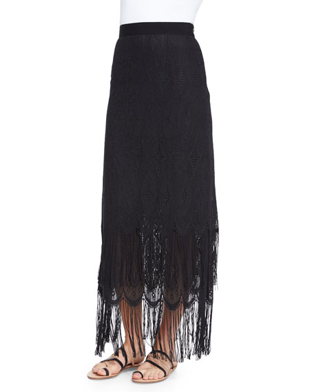 Miguelina Aurora Fringe Maxi Skirt, Black