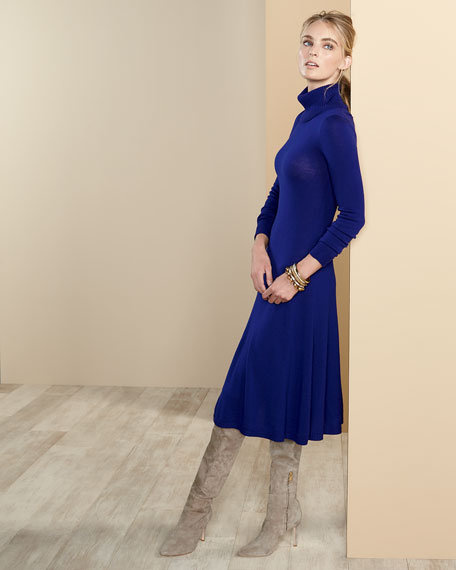 Long-Sleeve Merino Turtleneck Dress