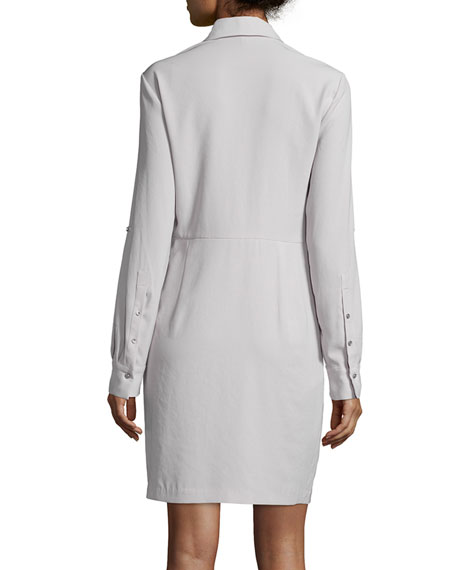 Long-Sleeve Twist-Front Shirtdress, Stone Gray