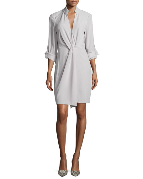 Halston Heritage Long-Sleeve Twist-Front Shirtdress, Stone Gray