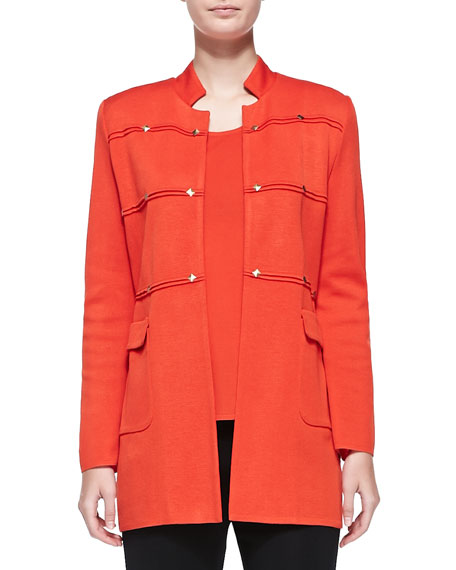Misook Studded Long Jacket, Blood Orange