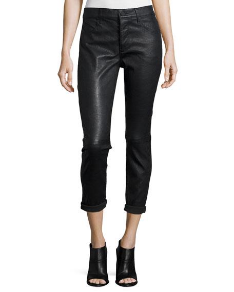 RtA Ryder Cropped Leather Pants, Black