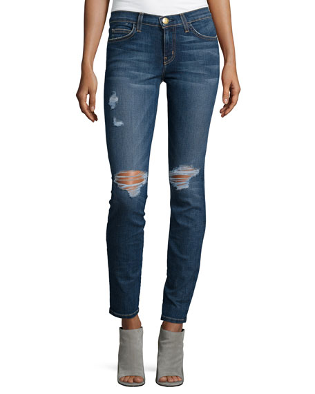 Current/Elliott The Ankle Distressed Skinny Jeans, Townie