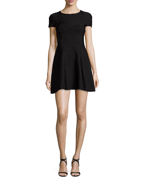 Herve Leger Short-Sleeve Bandage Dress, Black