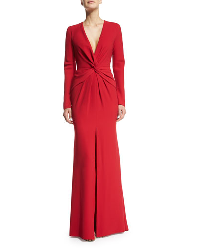 Long-Sleeve Front-Twist Gown