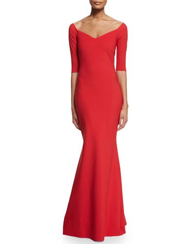 Kimmy Half-Sleeve Mermaid Gown