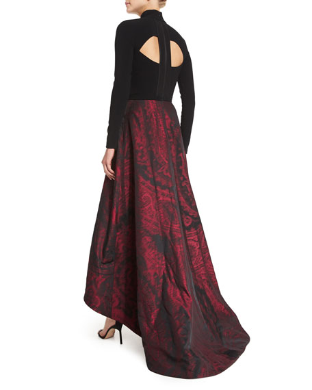 Long-Sleeve Mock-Neck Combo Gown