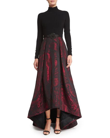 Long-Sleeve Mock-Neck Combo Gown