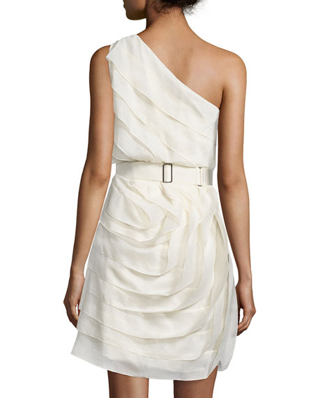 One-Shoulder Ruffled Cocktail Dress, Cream