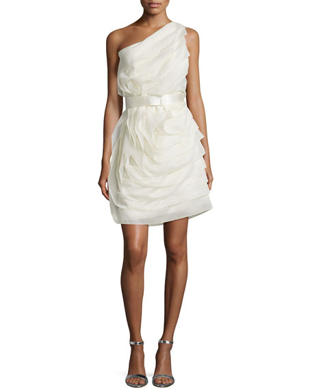Halston Heritage One-Shoulder Ruffled Cocktail Dress, Cream