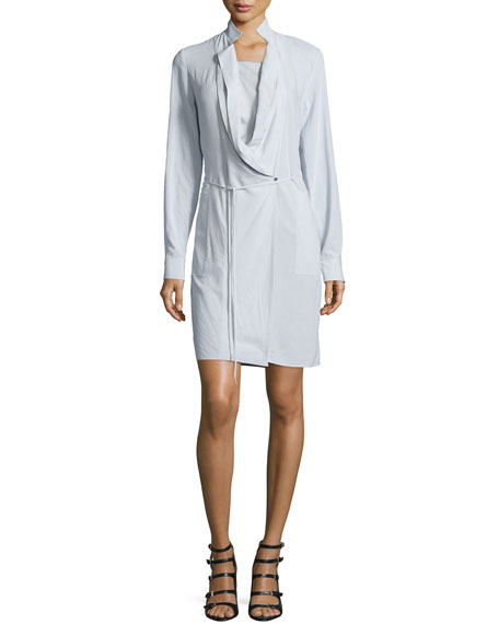 Halston Heritage Long-Sleeve Wrap Dress, Vapor