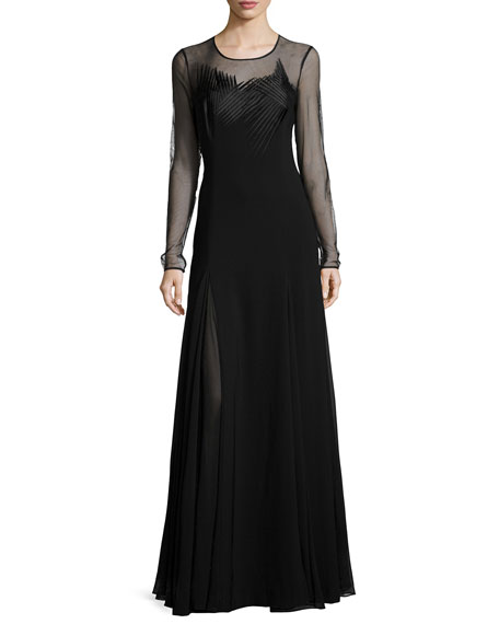 Sheer Long-Sleeve Embroidered Evening Gown, Black