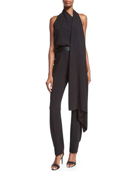 Halston Heritage Sleeveless Belted Jumpsuit, Black