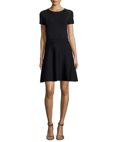 Halston Heritage Short-Sleeve Fit-&-Flare Dress, Black