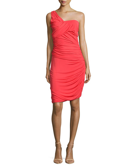 Halston Heritage One-Shoulder Ruched Cocktail Dress, Vermillion