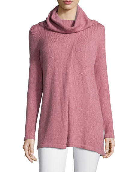 Lafayette 148 New York Cowl-Neck Long-Sleeve Sweater, Rose