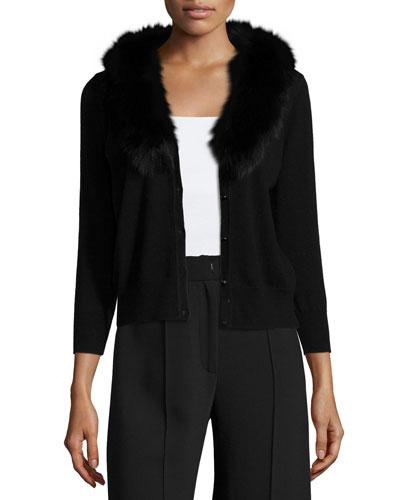 Fur-Collar Wool Cardigan