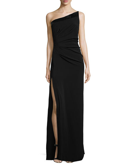 Halston Heritage One-Shoulder Side-Slit Evening Gown, Black
