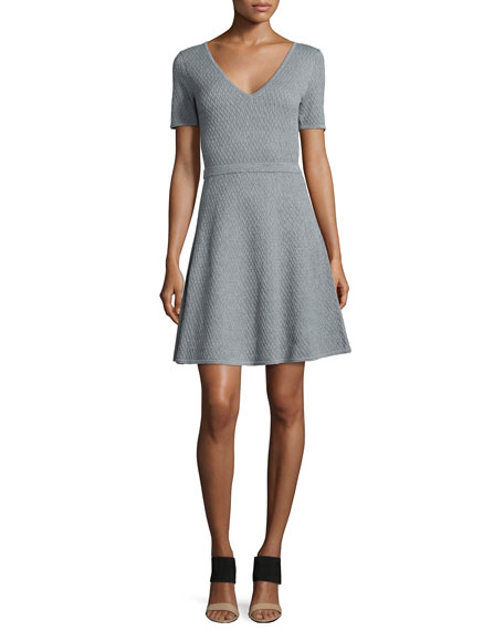 Textured V-Neck Sweaterdress, Heather Gray