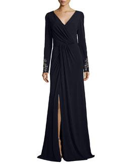 Beaded-Cuff Surplice Jersey Gown, Navy