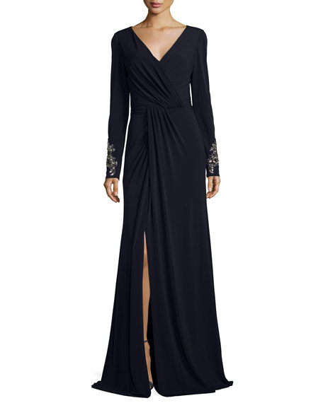 David Meister Beaded-Cuff Surplice Jersey Gown, Navy